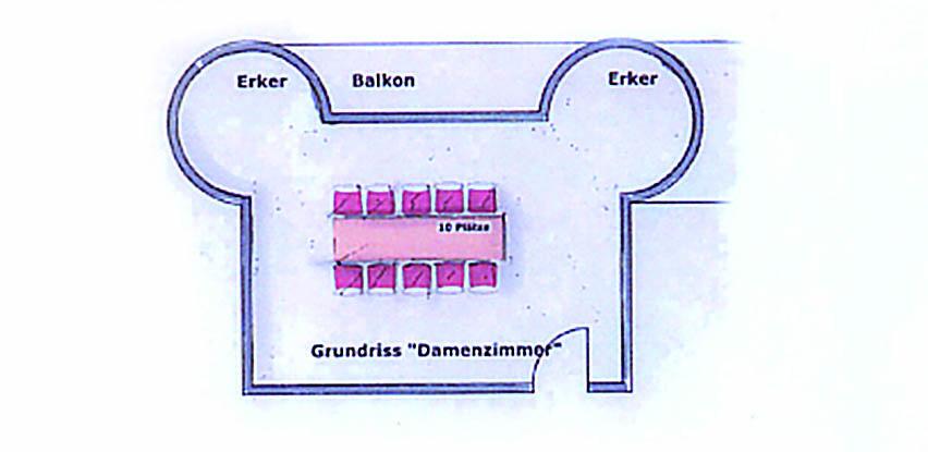 Bestuhlung Damenzimmer im Dippelshof Mühltal/Darmstadt
